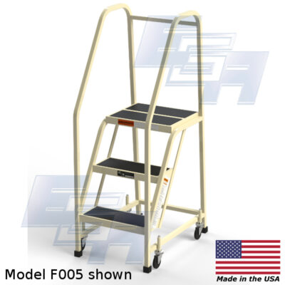 model f005 rolling office ladder 3 steps by ega products