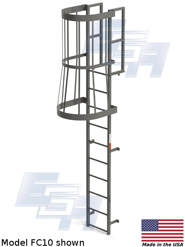 Fixed Vertical Amp Cage Ladders Fc Amp Fv Series Fl007