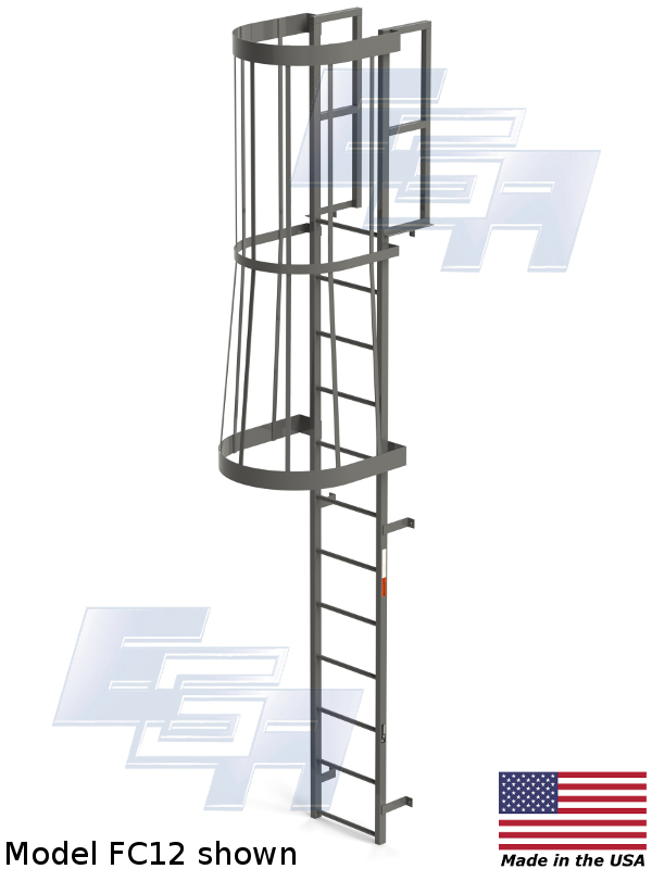 fixed wall mounted cage ladder