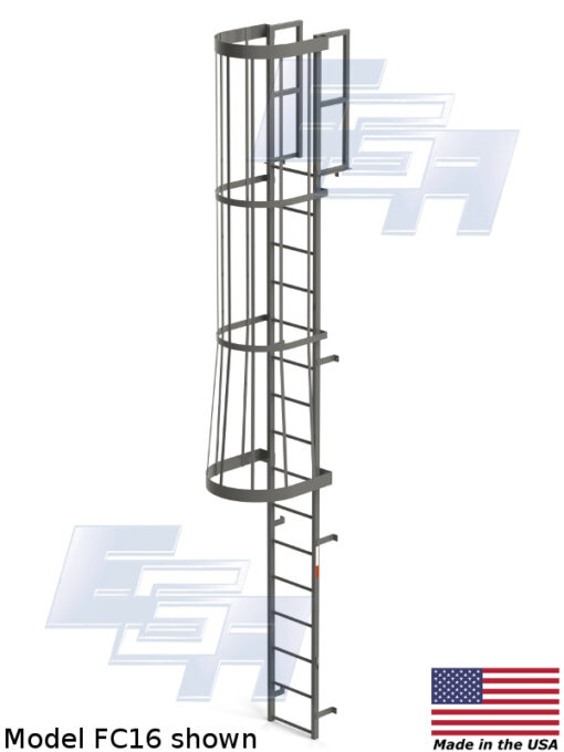 Fixed Vertical Amp Cage Ladders With Cage Fc16 Ega
