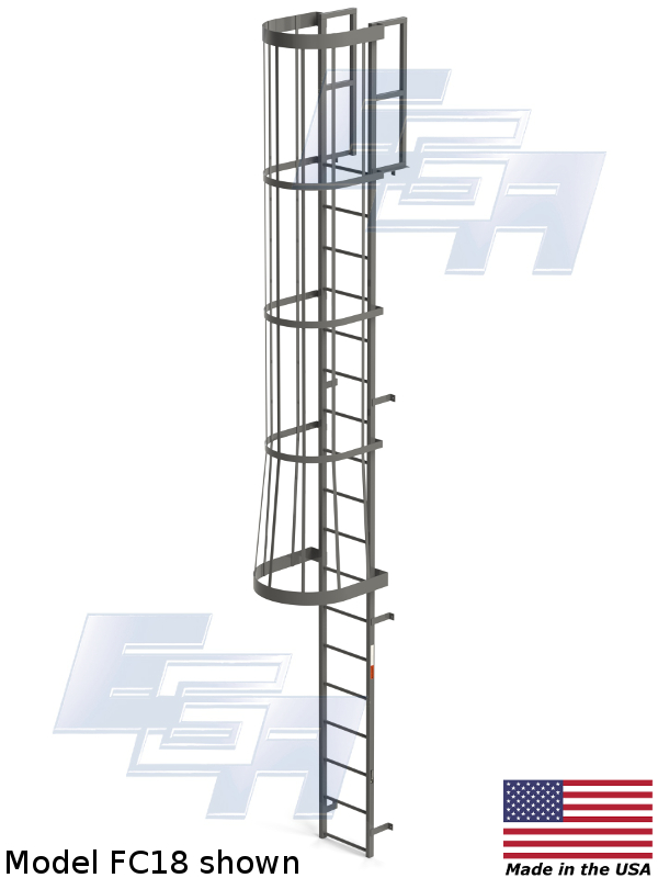 Fixed Vertical Amp Cage Ladders With Cage Fc20 Ega