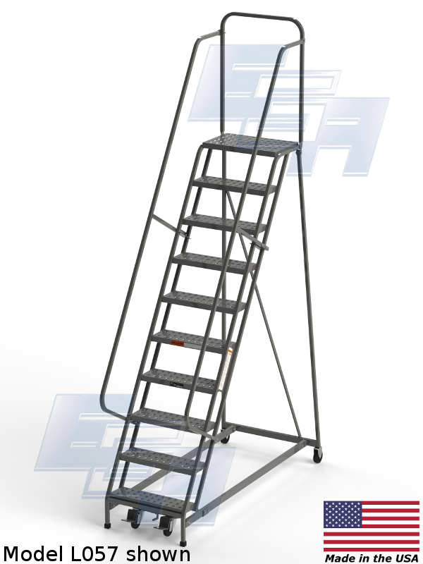 Industrial Rolling Ladders Square Tube Grip Strut L084