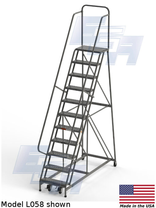 Industrial Rolling Ladders – Square Tube – Grip Strut