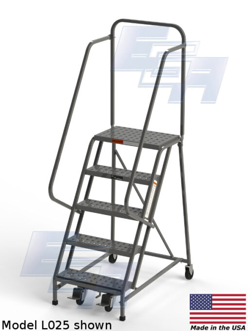 Industrial Rolling Ladders – Square Tube ∠60º (L – SERIES) [Made in the USA]