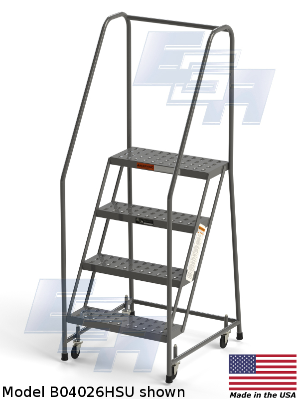 Industrial Rolling Ladders Set Up Grip Strut G04032hsu