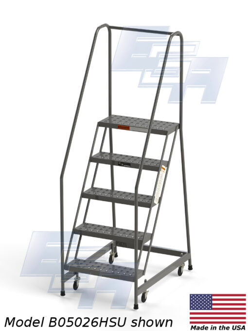 Industrial Rolling Ladders – Knocked Down – Grip Strut (Made in USA)