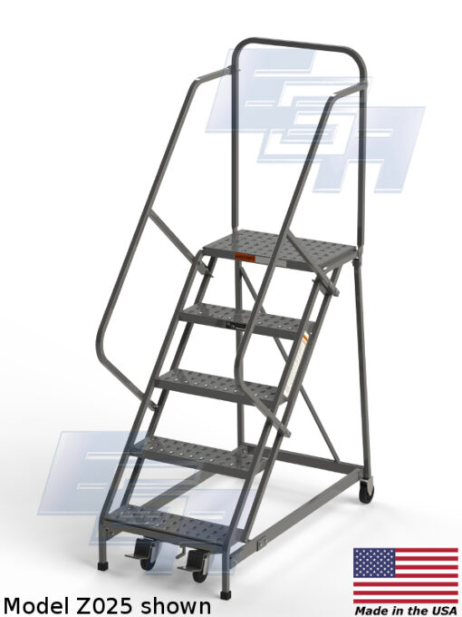 EZY Climb Ergonomic Rolling Ladder ∠50º (Z – SERIES)[Made in USA]