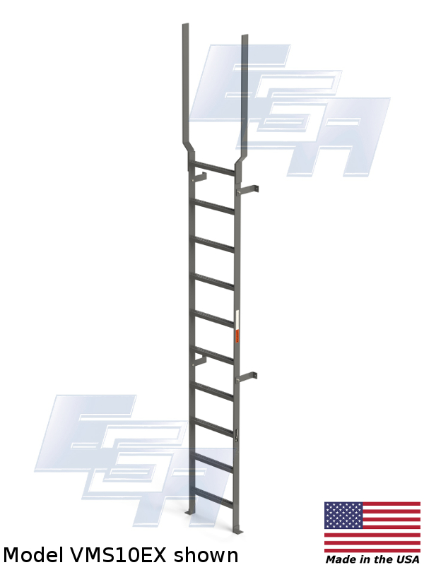 VMS-10-EX Vertical Wall Mount Steel Ladder by EGA Products