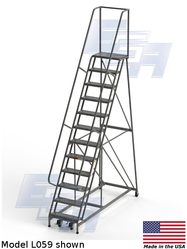 Industrial Rolling Ladders Square Tube Ezy Tread L059