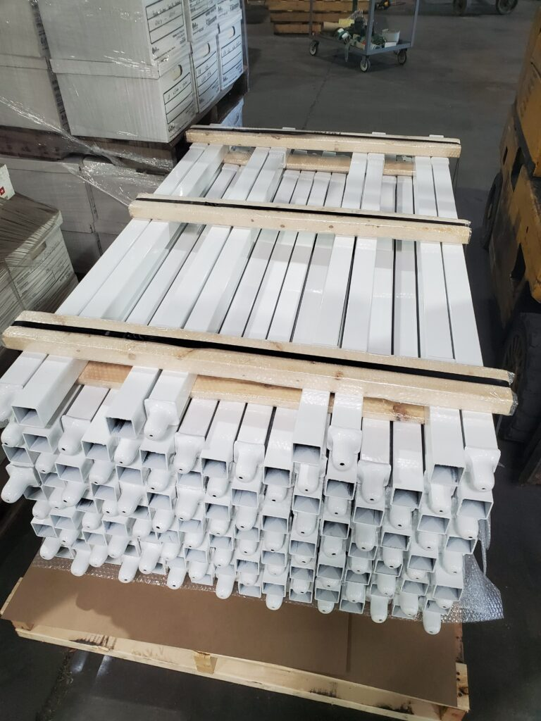 steel posts for stacking pallets together