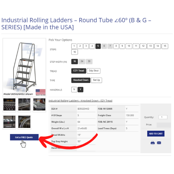 Buying a rolling ladder from EGA Products Step 1 Quote