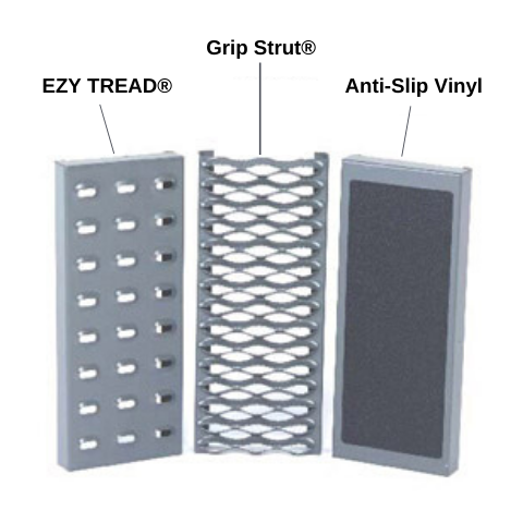 Tread Options. EZY Tread, Perforated Grip Strut, and Anti-Slip Vinyl Rubber