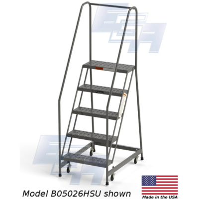 "B5026HSU Rolling Ladder 5 Steps with Handrails 24"" Wide Steps by EGA Products"