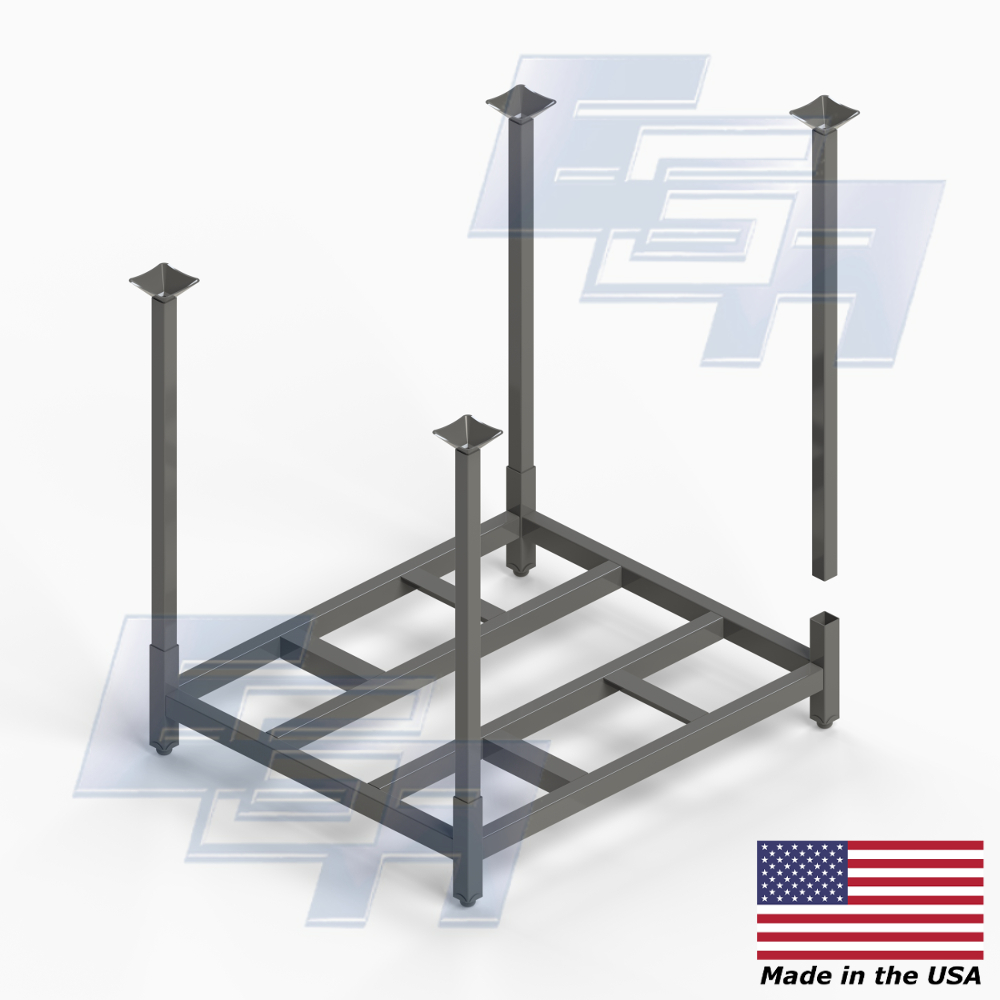 four way stack rack with removable posts