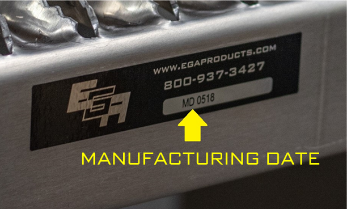 Manufacturing Date Stick EGA Products Model Number