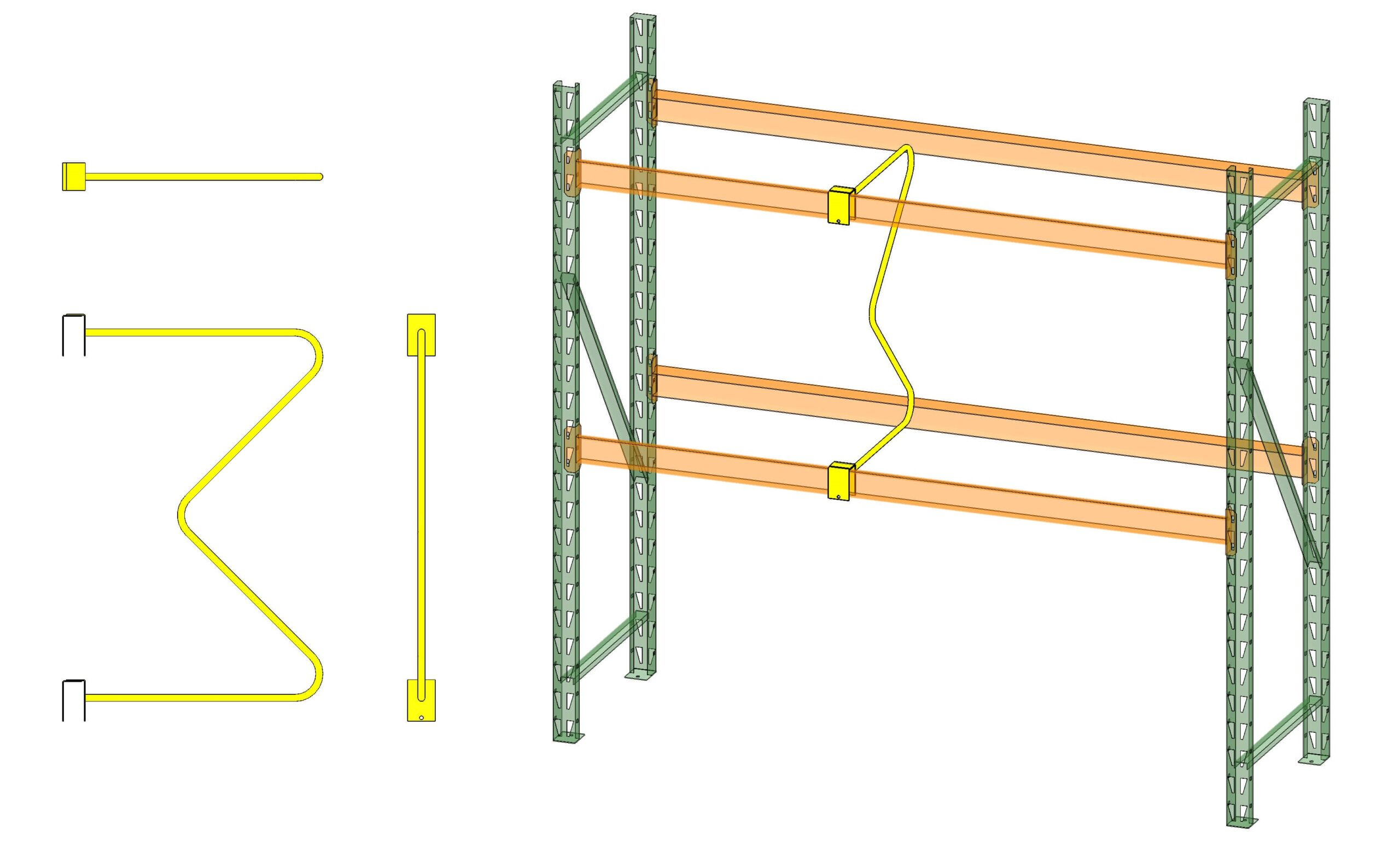 MD54-42 Pallet Rack M Divider Side and Top View on Pallet Racking by EGA Products