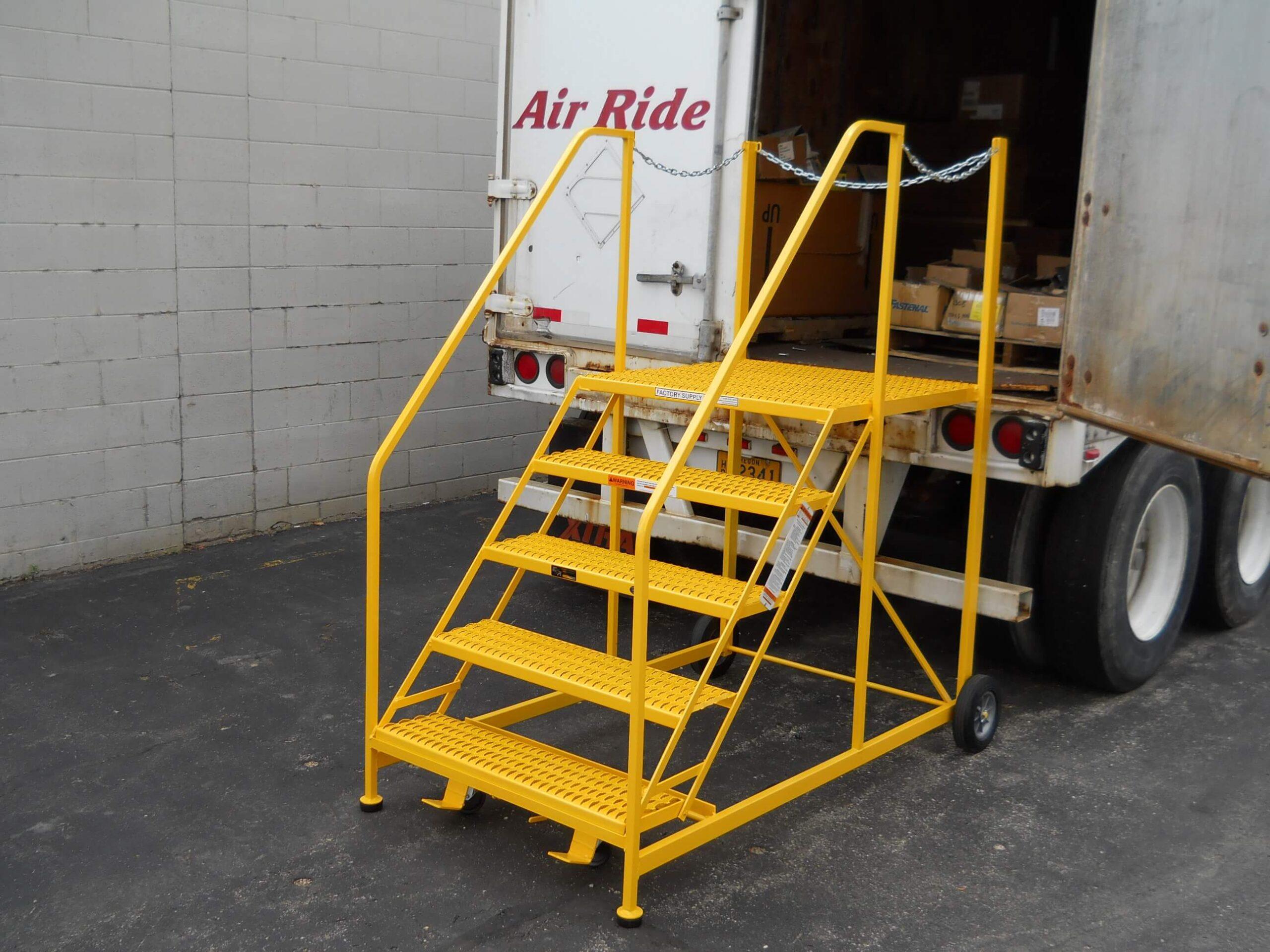 Semi-trailer truck access rolling ladder EGA Products