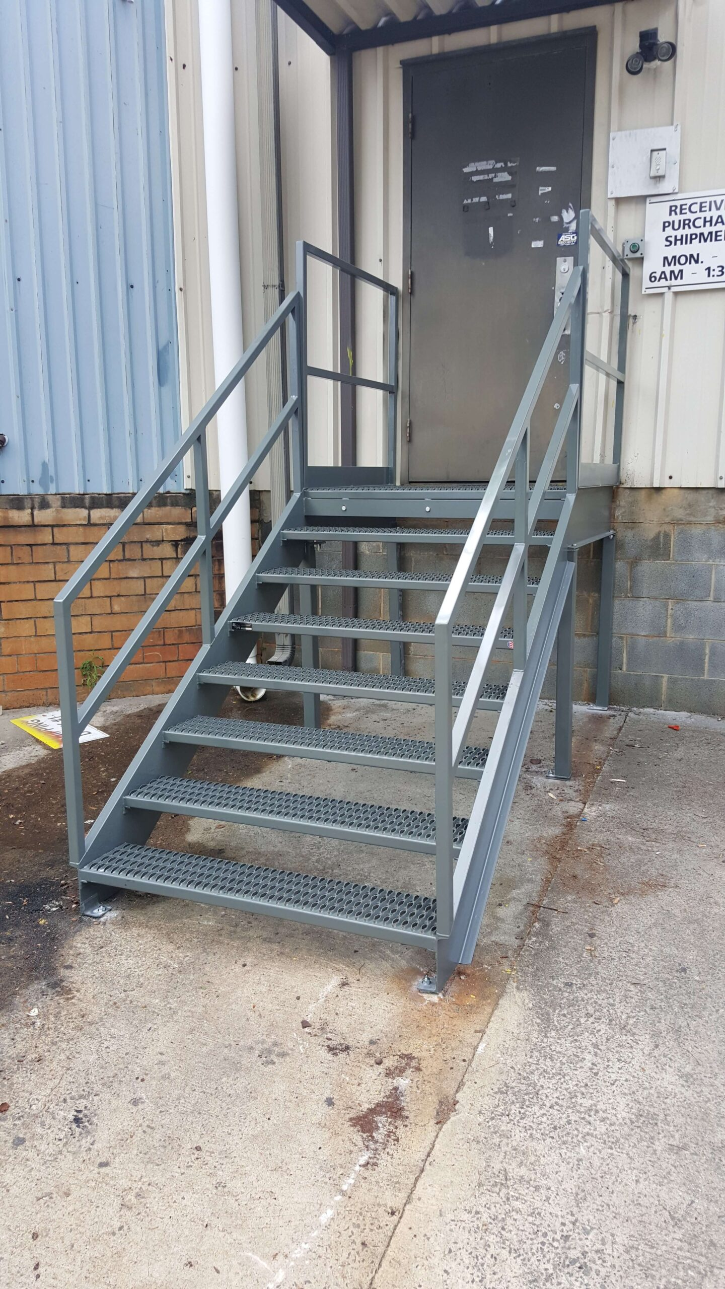 Small Access Galvanized Stairs and Platform by EGA Products
