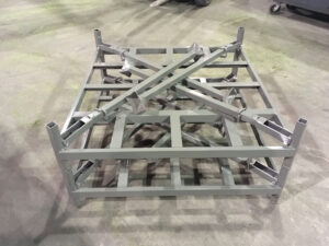 Stacked folded down stack rack storage solution