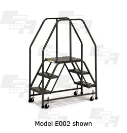 EGA Products mobile work platform rolling ladder crossover with handrails on each side model E002