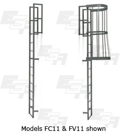 caged wall ladder